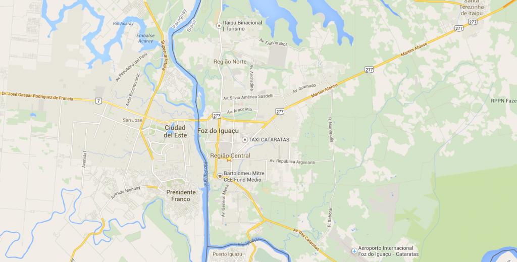 Mapa de hotéis em Foz do Iguaçu