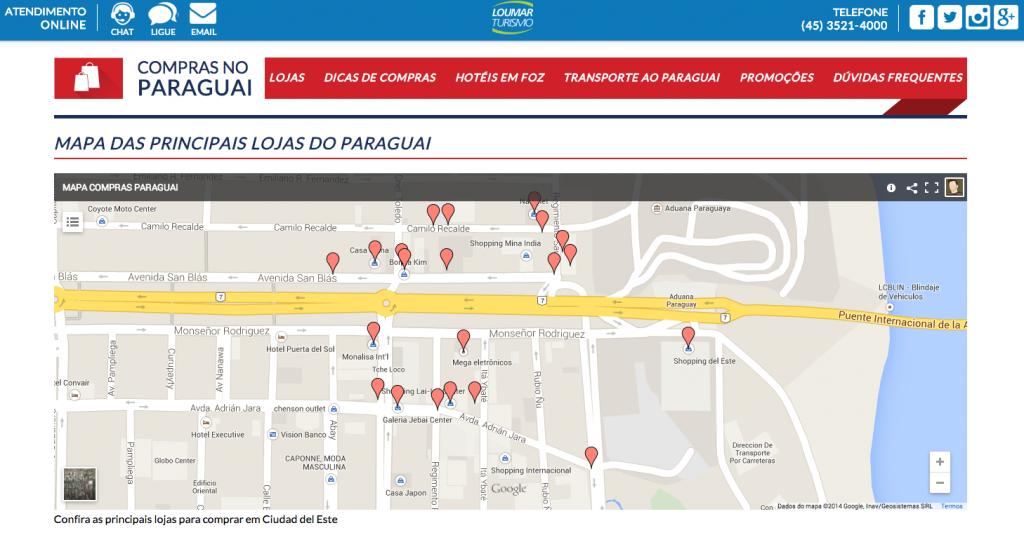 Mapa de lojas no Paraguai