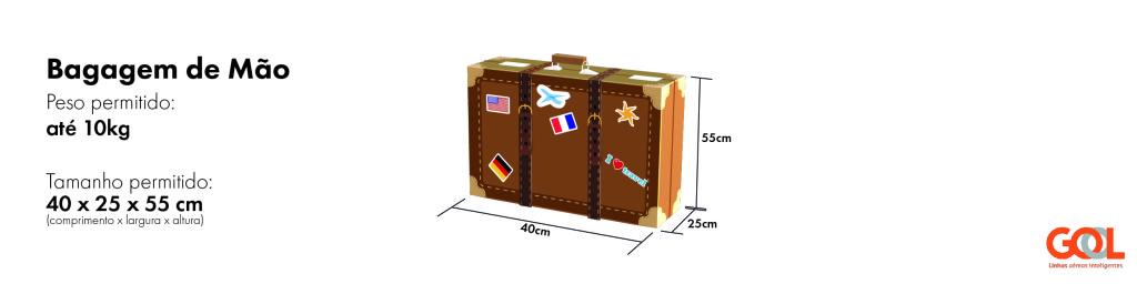tamanho bagagem mala permitido pela gol